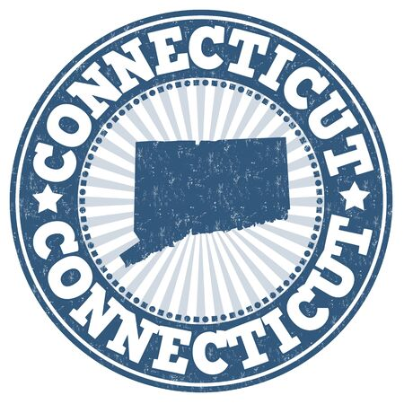 identifier: Grunge rubber stamp with the name and map of Connecticut, vector illustration