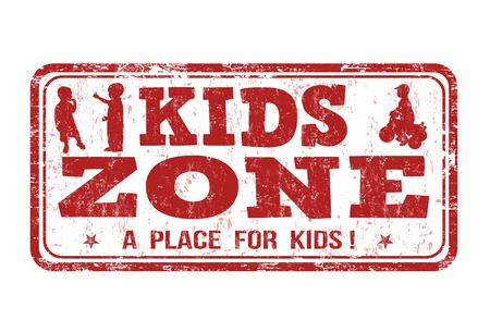 zona de niños grunge sello de goma en blanco, ilustración vectorial
