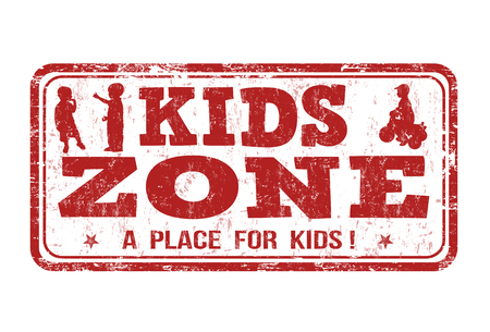 diversion: zona de niños grunge sello de goma en blanco, ilustración vectorial