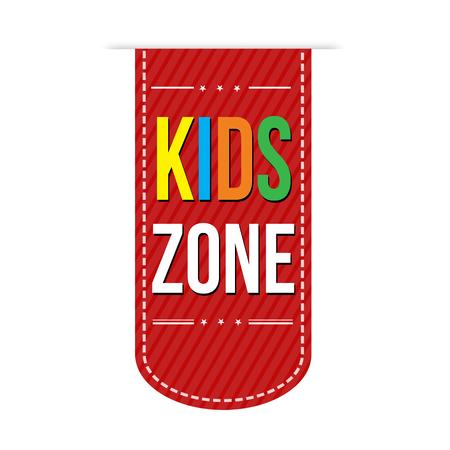 area: Kids zone banner design over a white background, vector illustration