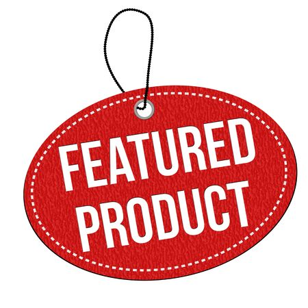 Featured product red leather label or price tag on white background, illustration
