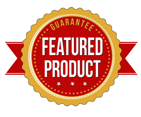 Featured product label or stamp on white background, illustration