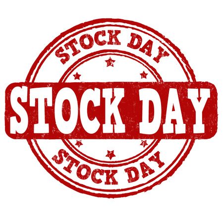 retail sales: Stock day grunge rubber stamp on white background, vector illustration Illustration