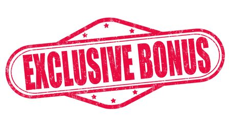 discounting: Exclusive bonus grunge rubber stamp on white background, vector illustration