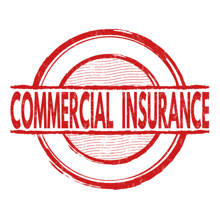 insurance claim: Commercial insurance grunge rubber stamp on white background, vector illustration