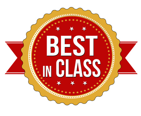 first rate: Best in class label or stamp on white background, vector illustration Illustration
