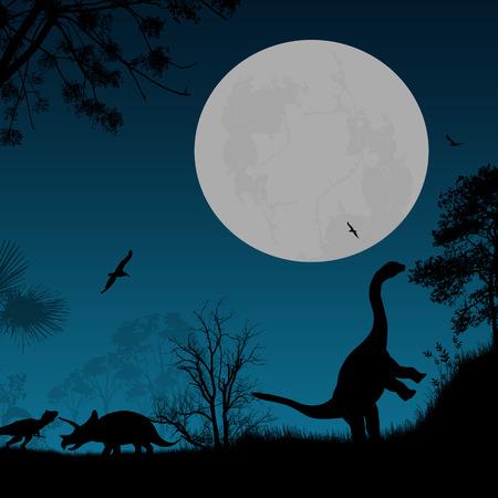 night art: Dinosaurs Silhouettes - Brontosaurus, Tyrannosaurus T-Rex and Triceratops, in beautiful place , vector illustration Illustration