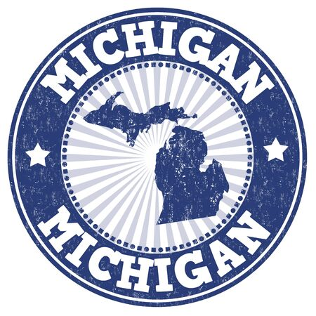 identifier: Grunge rubber stamp with the name and map of Michigan, vector illustration