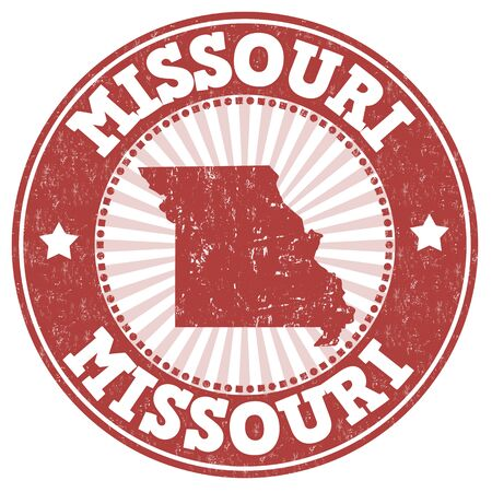 grunge rubber stamp: Grunge rubber stamp with the name and map of Missouri, vector illustration