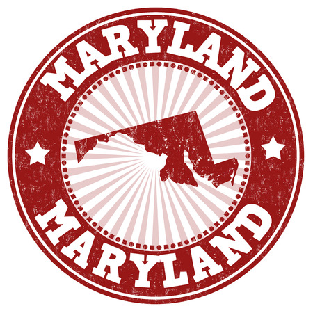 usa stamp: Grunge rubber stamp with the name and map of Maryland, vector illustration