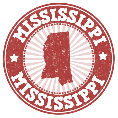 mississippi: Grunge rubber stamp with the name and map of Mississippi, vector illustration