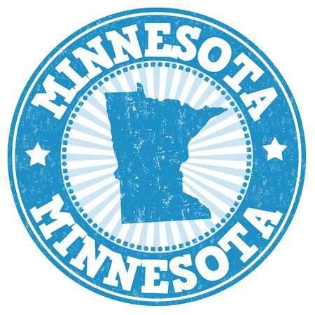 grunge rubber stamp: Grunge rubber stamp with the name and map of Minnesota, vector illustration