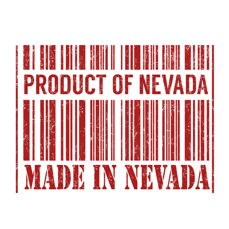 nevada: Product of Nevada, made in Nevada barcode grunge rubber stamp on white background, vector illustration