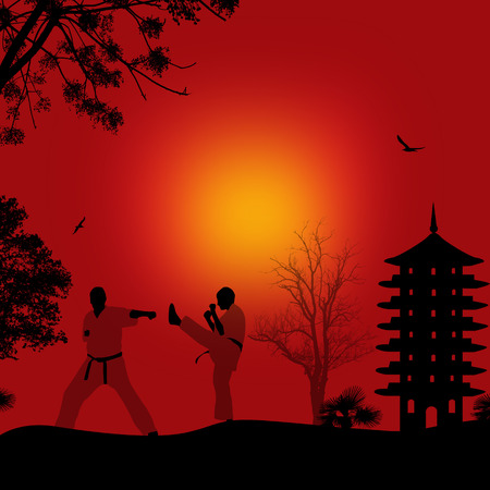 red sunset: Karate in the beautiful asian landscape on red sunset, vector illustration