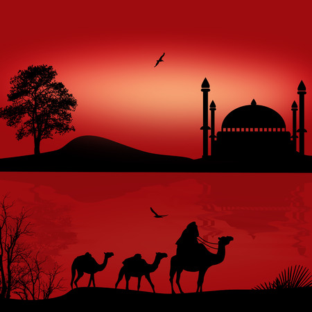 Bedouin camel caravan in beautiful red sunset near water, vector illustration