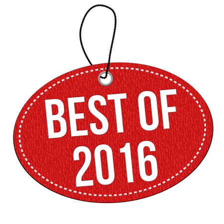 best background: Best of 2016 red leather label or price tag on white background, vector illustration