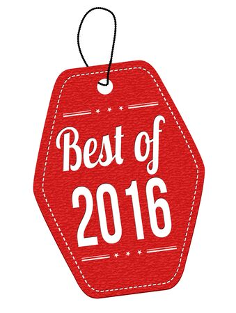 better price: Best of 2016 red leather label or price tag on white background, vector illustration
