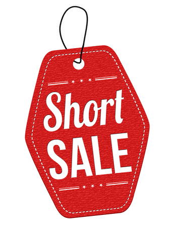 short sale: Short sale red leather label or price tag on white background, vector illustration