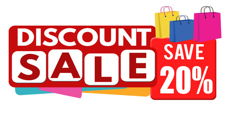 discounts: Discount sale banner or label for business promotion, 20 percent off on white background,vector illustration Illustration