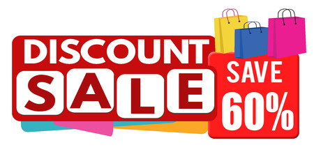60: Discount sale banner or label for business promotion, 60 percent off on white background,vector illustration