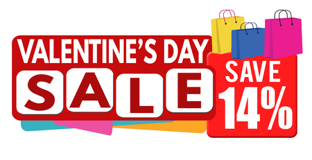 the day off: Valentines day sale banner or label for business promotion, 14 percent off on white background,vector illustration