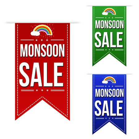 monsoon clouds: Monsoon sale banner design set over a white background, vector illustration