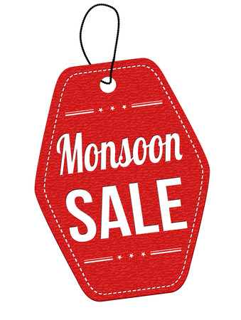monsoon: Monsoon sale red leather label or price tag on white background, vector illustration Illustration