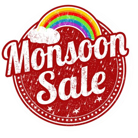monsoon: Monsoon sale grunge rubber stamp on white background, vector illustration