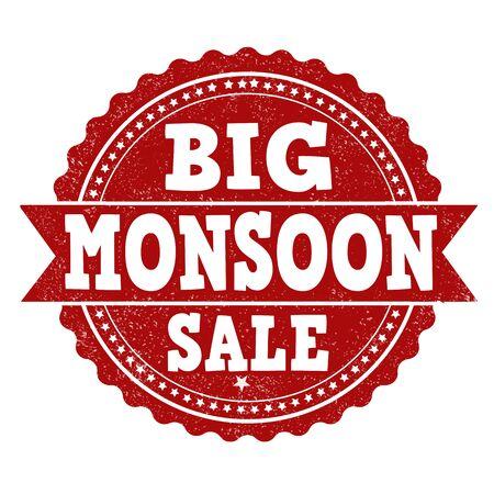 monsoon: Big monsoon sale grunge rubber stamp on white background, vector illustration