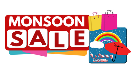 monsoon clouds: Monsoon sale banner or label for business promotion on white background,vector illustration Illustration