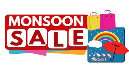 monsoon: Monsoon sale banner or label for business promotion on white background,vector illustration Illustration
