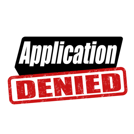 assertion: Application denied grunge rubber stamp on white background, vector illustration