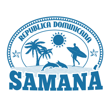 island paradise: Samana, Dominican Republic, stamp or label on white background, vector illustration