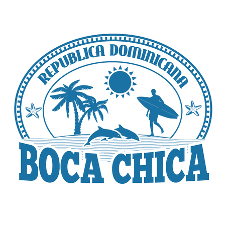 chica: Boca Chica, Dominican Republic, stamp or label on white background, vector illustration