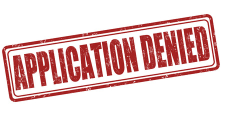 requisition: Application denied grunge rubber stamp on white background, vector illustration