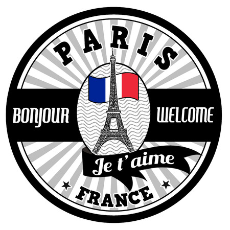 french label: Paris emblem, label or stamp with Eiffel tower and french flag on white background, vector illustration