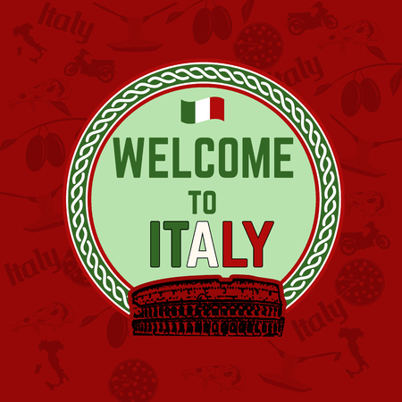italian food: Welcome to Italy  travel sticker on red patern background  with national italian food, sights and  map, vector illustration