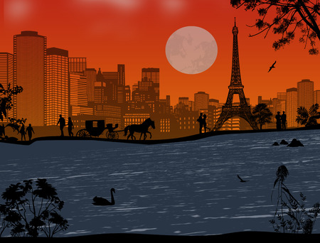 seine: Beautiful sunset over Eiffel Tower and Seine river with people silhouette , vector illustration