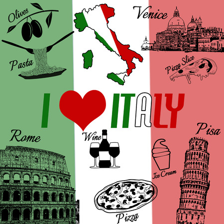 italian food: I love Italy grunge seamless pattern with national italian food, sights, map and flag