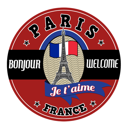 french culture: Paris emblem, label or stamp with Eiffel tower and french flag on white background, vector illustration