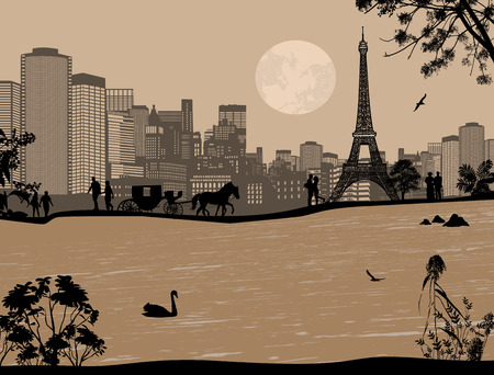 seine: Beautiful sunset over Eiffel Tower and Seine river with people silhouette on retro style, vector illustration