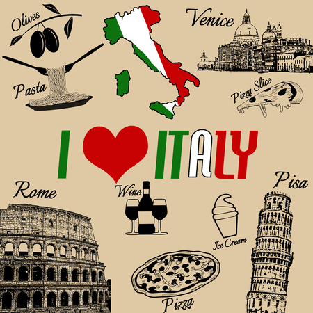 I love Italy grunge seamless pattern with national italian food, sights, map and flag on retro style Illustration
