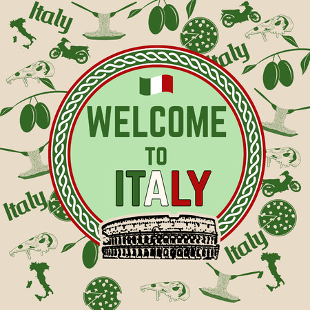 Welcome to Italy  travel sticker on retro style patern background  with national italian food, sights and  map, vector illustration Çizim