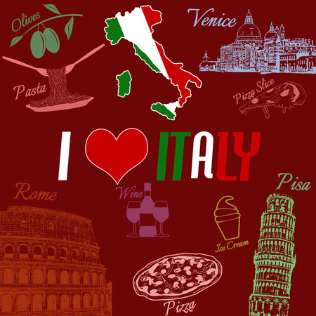 I love Italy grunge seamless pattern with national italian food, sights, map and flag on red