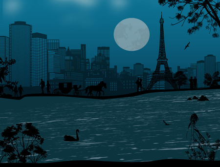 seine: Beautiful blue night over Eiffel Tower and Seine river with people silhouette , vector illustration