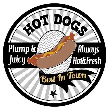 weiner: Hot dogs emblem, label or stamp on white background, vector illustration