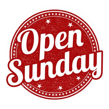 sonne: Geöffnet Sonntag Grunge Stempel auf weißem Hintergrund, Vektor-Illustration Illustration