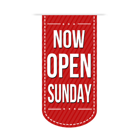 Now open sunday banner design over a white background, vector illustration