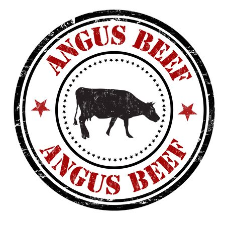 Angus wołowiny grunge gumy pieczęć na białym tle, ilustracji wektorowych
