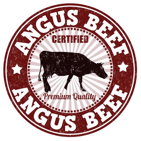 carne de res: Angus grunge sello de goma carne de vaca en el fondo blanco, ilustración vectorial
